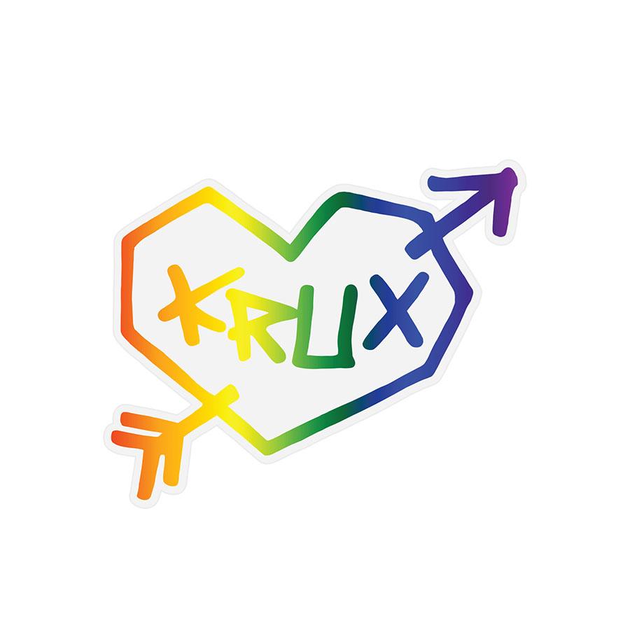 Rainbow Heart Sticker 4 in x 3.25 in PK/25