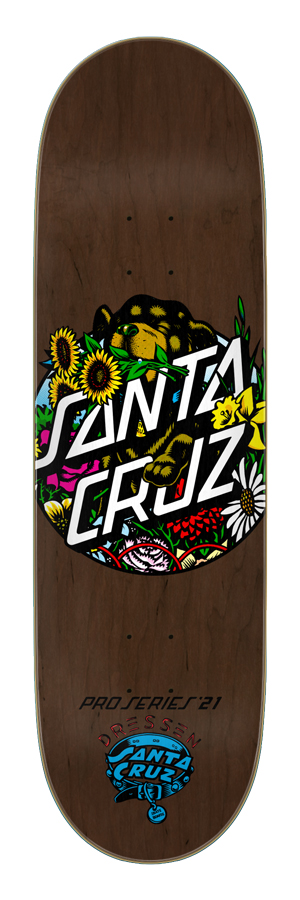 9.00in x 32.15in Dressen Pup Dot Santa Cruz Skateboard Deck