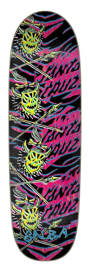 9.25in x 31.95in Salba Stencil Shaped Santa Cruz Skateboard Deck