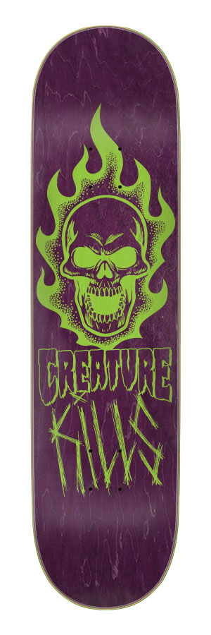 8.0in x 31.8in Bonehead Kills Creature Skateboard Deck