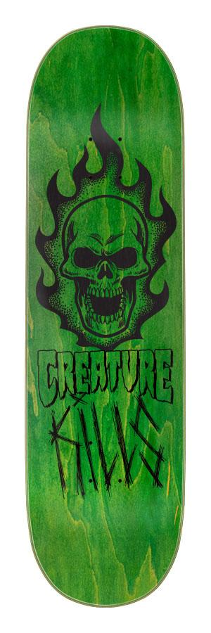 8.8in x 32.5in Bonehead Kills Creature Skateboard Deck